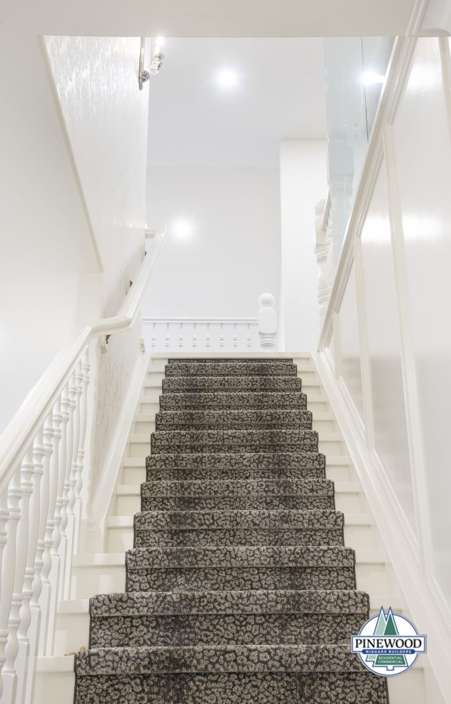 A staircase with covered with a carpeted stair runner
